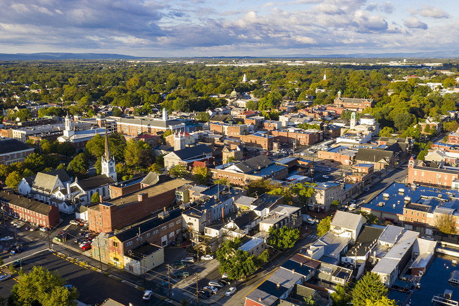 Pennsylvania - Early Morning Aerial View Over Downtown City Skyline Carlisle, Pennsylvania
